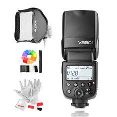 159.00$  Buy here  - Godox V850II GN60 2.4G Wirless X System Speedlite w/ 2000mAh Battery Flash Light for Canon Nikon DSLR Cameras + Softbox + Filter