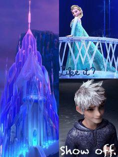 """Elsa: """"Like it?"""" Jack: """"Show off."""" (Edit by me, Supreme Baker)"""