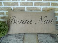 French+Burlap++Bonne+Nuit++Good+Night++by+SimplyFrenchMarket,+$35.00