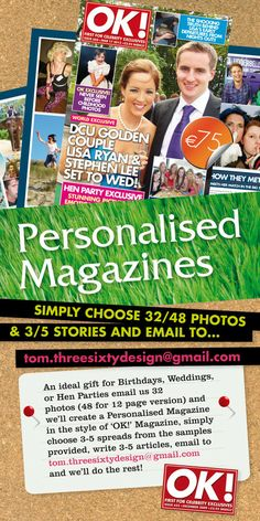Personalized Hen Party Magazine - If you're looking for something different for a hen party, then send the hen up in a mock Heat Magazine with feature pages such as Who Wore It Best, Hoop of Horror, Our Survey Says and My How You've Grown. Hens, Dublin, Birthday Gifts, Horror, Birthdays, Magazine, Sayings, Party, Laying Hens