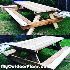 Picnic Table DIY Build A Picnic Table, Wooden Picnic Tables, Outdoor Picnic Tables, Outdoor Projects, Diy Projects, Woodworking Plans, Woodworking Projects, Wood Putty, Wooden Playhouse