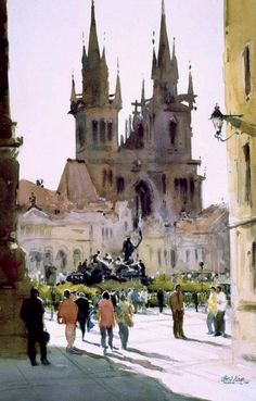 "Robert Wade ""Prague, Mala Strana"" Painted 1996 One of the World's most paintable cities.a favourite painting place. Watercolor City, Watercolor Landscape, Watercolour Painting, Watercolours, Prague, Watercolor Architecture, Guache, Urban Sketchers, Watercolor Techniques"