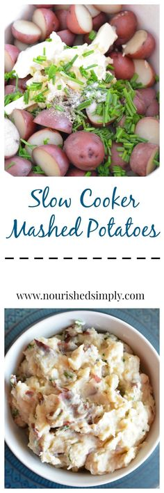 Slow cooker mashed potatoes are so easy and let you save space on your cook top for other dishes.  Plus a slow cooker keeps your mashed potatoes warm! Thanksgiving recipes, slow cooker recipe, mashed potato recipe.