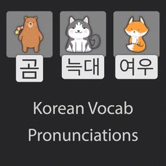 These are the native Korean pronunciations for bear, wolf, and fox. As always, building a new vocabulary should always include basic animal words. Korean Words Learning, Korean Language Learning, Language Study, Language Lessons, Korean Slang, Learn Korean Alphabet, Learn Hangul, Aesthetic Korea, Words Wallpaper