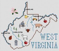 West Virginia Map - Cross Stitch Pattern