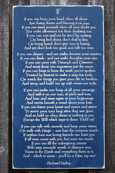 """""""If"""" poem by Rudyard Kipling - handpainted and carved wood sign One of my favorite poems of all time-CG"""