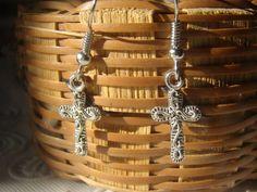 Small Decorative Silver Cross Charm Earrings Jewelry Box, Etsy Seller, Earrings, Silver, Jewelry Box Store, Jewelry Storage, Stud Earrings, Money, Ear Rings