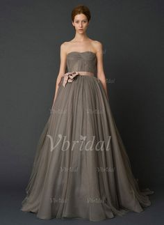 Wedding Dresses - $260.29 - A-Line/Princess Strapless Sweetheart Court Train Tulle Wedding Dress With Ruffle Sash (0025058861)