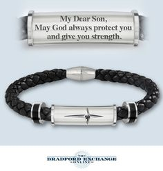 Give your son a meaningful expression of his faith with this engraved religious cross bracelet. Includes a gift box for presentation too!