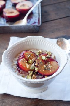 Roasted plums and oatmeal for breakfast