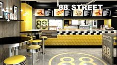 STREET fast food bar by Forbis Group, Cracow Poland restaurant Burger Restaurant, Restaurant Counter, Fast Food Restaurant, Restaurant Ideas, Interior Design Courses, Restaurant Interior Design, Cafe Bar, Counter Design, Kitchen Design