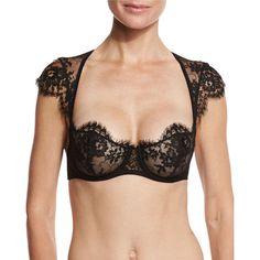 I.D. Sarrieri Jamais Le Premier Soir Cap-Sleeve Balconette Bra (410 AUD) ❤ liked on Polyvore featuring intimates, bras, black, balcony bra, lace underwire bra, cup bra, shelf bra and lace bra