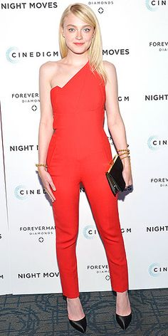 DAKOTA FANNING She usually opts for an ultra-feminine dress, but Dakota switches things up in a crimson Roland Mouret one-shoulder jumpsuit and edgy gold bracelets at the premiere of Night Moves in N.Y.C.