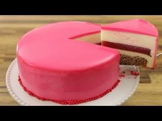 Strawberry Mousse Mirror Glaze Cake Recipe - The Cooking Foodie Strawberry Glaze Recipe For Cake, Strawberry Mousse Cake, Mirror Glaze Recipe, Mirror Glaze Cake, Mirror Cakes, Glaze For Cake, Pistachio Cake, Bowl Cake, Let Them Eat Cake