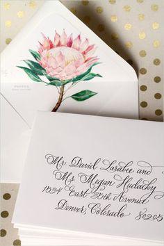 Hand painted protea inviation by Lana's Shop. #wchappyhour #weddingchicks http://www.weddingchicks.com/2014/07/07/wedding-chicks-happy-hour-24/