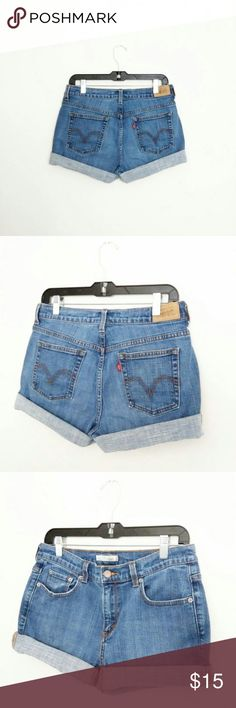 """Levi High Waist Beached Stretched Shorts WAIST - 30/32"""" stretch HIPS - 40/44"""" stretch RISE - 13""""  high waist LENGTH UNROLLED - 15"""" STRETCH - little, good MATERIAL - cotton, spandex HEM- hand cut, frayed  These are more a size 7/8 listed as such, disregard tag size  *I ship everyday except for Sunday Levi's Shorts Jean Shorts"""