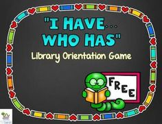 I Have, Who Has Library Orientation Game {FREEBIE} School Library Lessons, Library Lesson Plans, Elementary School Library, Library Skills, Elementary Library Decorations, School Library Decor, Elementary Education, Library Science, Library Activities