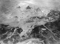 Pyramids of Giza, Egypt. Photographed from a balloon from about 600 meters above ground, by Eduard Spelterini. 1904