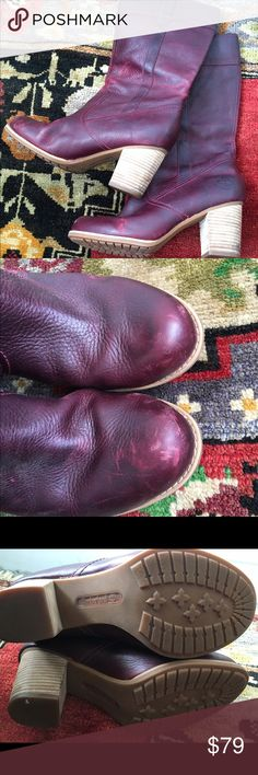 """Timberlands Earthkeepers Rudston burgundy These beauties are js wonderful condition. Normal scuffing at toes. 14"""" tall from mid inner sole heel height 2.5-3"""" calf circumference 15"""" Timberland Shoes Heeled Boots"""