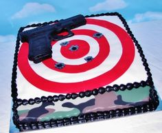 Groom's Target Practice Cake Butter Pecan cake covered in BC and fondant. Target Birthday Cakes, Gun Cakes, Laser Tag Birthday, Butter Pecan Cake, 14th Birthday, Birthday Parties, Cousin Birthday, Target Practice, Cakes For Men