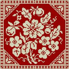 Beautiful square floral pattern / chart for cross stitch, crochet, knitting, knotting, beading, weaving, pixel art, and other crafting projects