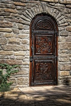 Padlocked beautiful wooden door. Beautiful wood detail