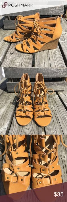 🆕List! American Rag Lace-Up Leather Wedges! NEW! Vegan cognac leather. Wedge is 3.75 inches tall. Size 9.5. New in box. American Rag Shoes Wedges