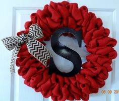 Red Burlap Wreath with Chevron Bow and Personalized Initial - monogrammed wreath, black chevron bow, front door wreath, everyday wreath