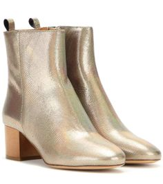 Isabel Marant - Étoile Drew metallic leather ankle boots - The high-shine metallic leather in an aged silver hue is accented with a modest brown heel for a subtly elevated look. - # www.mytheresa.com