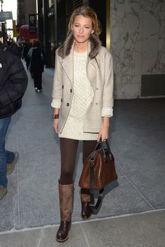 blake lively's sweater dress + blazer + tights + sporty riding boots