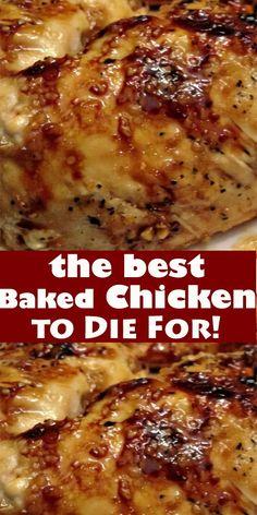 Baked Chicken Recipes, Turkey Recipes, Meat Recipes, Crockpot Recipes, Cooking Recipes, Easy Baked Chicken, Yummy Recipes, Baked Chicken Breast, Easy Recipe For Boneless Skinless Chicken Breast