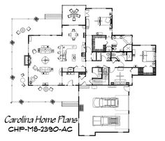 Country style home plan with 3 bedrooms, 3 baths and open floor plan (MS-2390-AC).