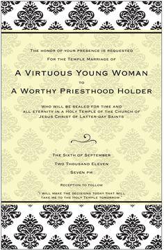 Virtue Activity - Wedding night  Ideas for YW: Personal Progress Activity