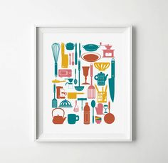 Check out our kitchen prints selection for the very best in unique or custom, handmade pieces from our shops. Kitchen Posters, Kitchen Prints, Kitchen Humor, Funny Kitchen, Kitchen Gallery Wall, Vintage Marketplace, Utensils, Sweet Home, Home And Garden