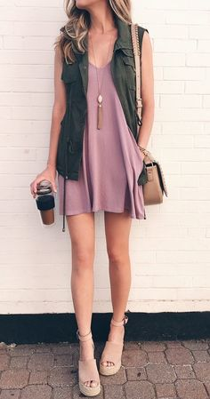 pink summer outfits - utility vest over tank dress on pinterestingplans