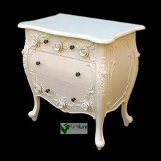 3 drawer carved chest with flower decoration