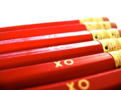 6 VALENTINE PENCILS - red xo GRAPHITE hex pencils w/ hand-stamped kraft pencil box - pencil set on Etsy, $10.00