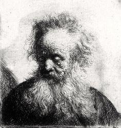 Rembrandt van Rijn, Old Man with Flowing Beard Looking down Left on ArtStack #rembrandt #art