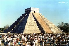 Chichen Itza during the equinox, the only time when a serpent appears to slither down the side of the pyramid. BEEN HERE BUT WANT TO GO AGAIN!!!