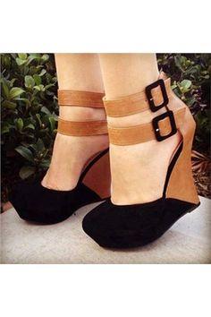 Stylish Contrast Colour Suede Wedge Sandals - Shoespie.com