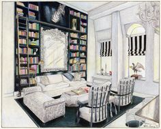 Interior drawing of Carolina George's Soho Penthouse, illustrated by Foster Cranz