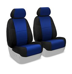Coverking Custom Fit Front 50/50 Bucket Seat Cover for Select Honda Ridgeline Models - Spacermesh 2-Tone (Blue with Black Sides)