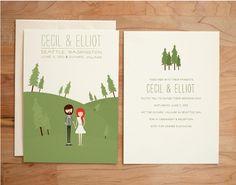 Illustrated Wedding Invitation Set - Custom Couple - Cecil & Elliot. $80.00, via Etsy.
