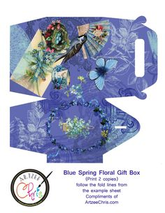 The Artzee Blog: Blue Color Themed Spring Gift Box Printable