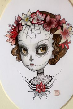 Adonica - original Dia de los Muertos illustration in Vintage Frame by Mab Graves.