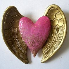 Pink Heart with Wing Wall Decor by RachaelCao on Etsy Heart With Wings, I Love Heart, Heart Crafts, Felt Hearts, Pink Hearts, Mexican Folk Art, Heart Art, Sacred Heart, Valentines Day