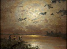 Ernst Lorenz-Murowana (1872-1950) - Fischer im Mondschein Moonlight Painting, Painting Gallery, Sun Moon, Still Life, Restoration, Paintings, Landscape, Art, Moonlight