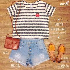 Look 2 ❤️ com direito a PATCH no peito, felicidade na bolsa e sol nos pés. #lojaamei #etiquetaamei #sandália #mostarda #jeans #bolsa #promo
