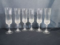 Cristal d'Arques Champagne Flutes Longchamps Glass Lead Crystal Set of 6 Diamond #CristaldArques