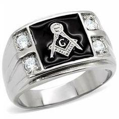Stainless Steel 4-Stone Masonic Men's Ring Eternal Sparkles. $19.99